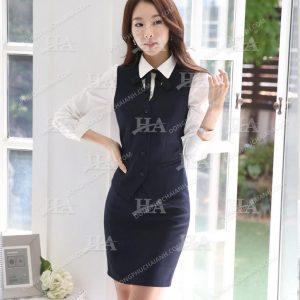 Mẫu đồng phục áo gile nữ công sở cổ tròn