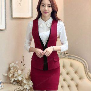 Mẫu đồng phục áo gile nữ công sở màu đỏ