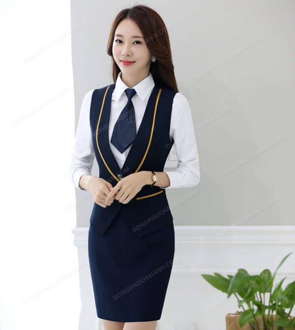 Mẫu đồng phục áo gile nữ công sở màu tím than
