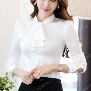 Mẫu đồng phục áo sơ mi nữ công sở màu trắng dài tay