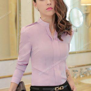Mẫu đồng phục áo sơ mi nữ công sở màu hồng