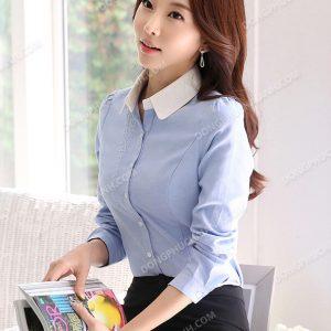 Mẫu đồng phục áo sơ mi nữ công sở màu xanh