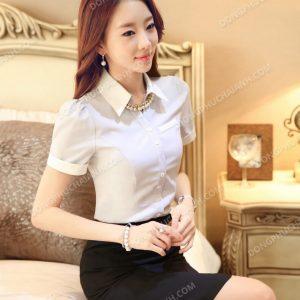 Mẫu đồng phục áo sơ mi nữ công sở ngắn tay