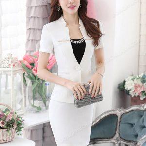 Mẫu đồng phục áo vest nữ công sở màu trắng