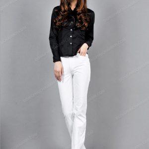Mẫu đồng phục quần âu nữ công sở cho người thấp kết hợp với áo sơ mi
