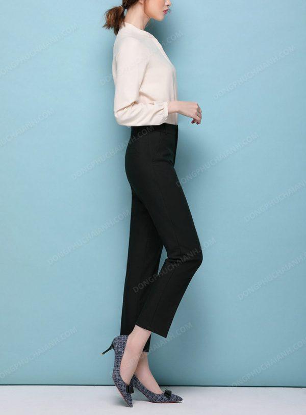 Mẫu đồng phục quần âu nữ công sở dáng suông màu đen mặt nghiêng