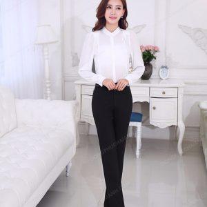 Mẫu đồng phục quần âu nữ công sở dáng thụng