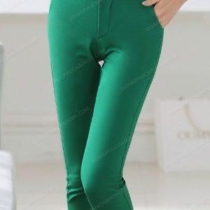 Mẫu đồng phục quần âu nữ công sở màu xanh