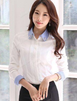 Mẫu áo sơ mi trắng đồng phục công sở nữ