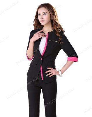 Mẫu áo vest công sở không cổ nữ tôn dáng