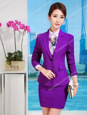 Mẫu áo vest công sở nữ màu tím