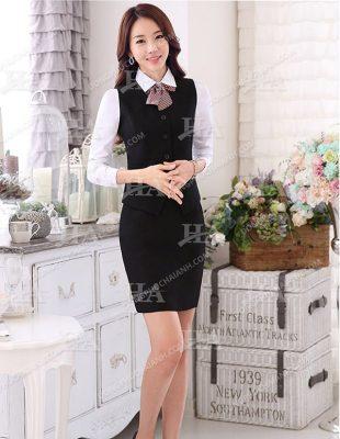 Mẫu áo gile công sở cho nữ mix cùng chân váy