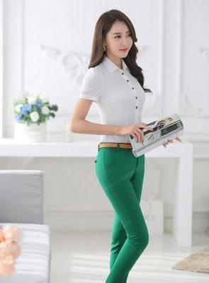 Mẫu quần tây công sở nữ màu xanh